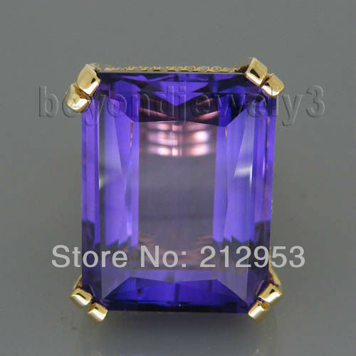 Lovely Amethyst Ring Vintage Emerald Cut 17x20mm 18kt Yellow Gold For Wife Gift SR322A