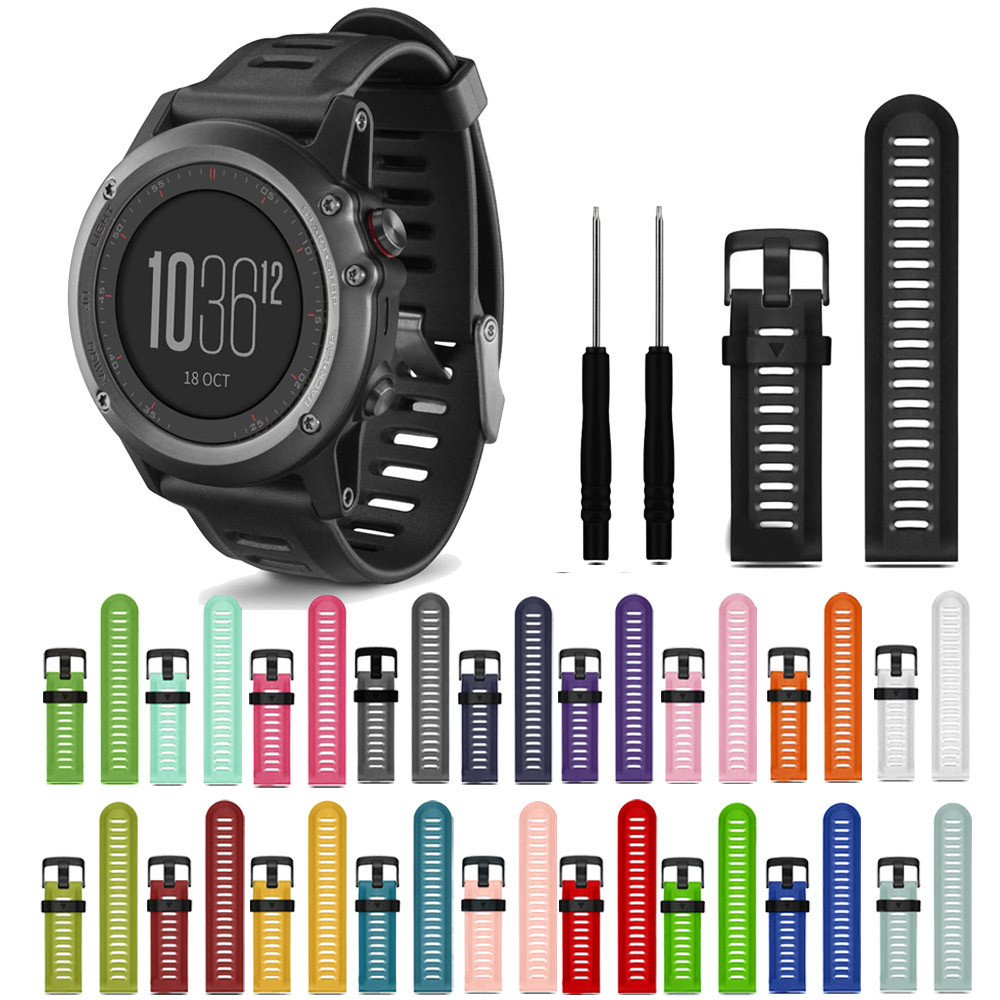 YCYS-Watchband For Garmin Fenix 3 HR Soft Silicone Strap Replacement Wrist Watch Band+Tool Kits 14 colors multi color silicone band for garmin fenix 5x 3 3hr strap 26mm width outdoor sport soft silicone watchband for garmin 26mm band