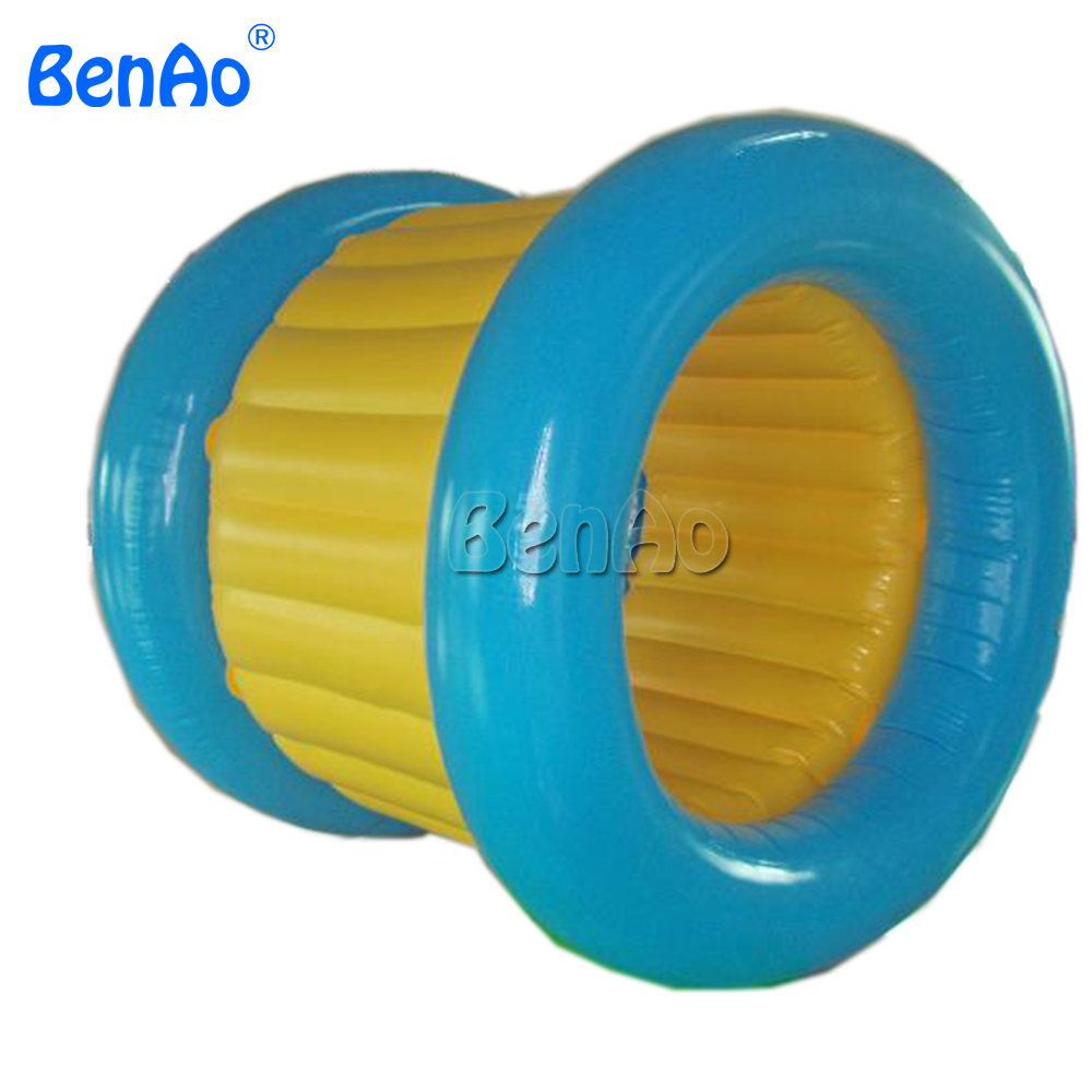 WB017 BENAO Popular inflatable water bubble roller, running roller for water games commercial sea inflatable blue water slide with pool and arch for kids