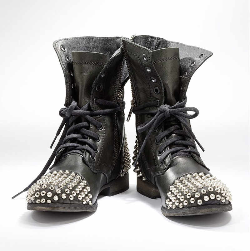 cd51d0cafed Women Combat Boots Black 2018 Flat Rivets Ankle Boots Cool Girl Studs  Booties Lace Up Punk Shoes Rocker Boots