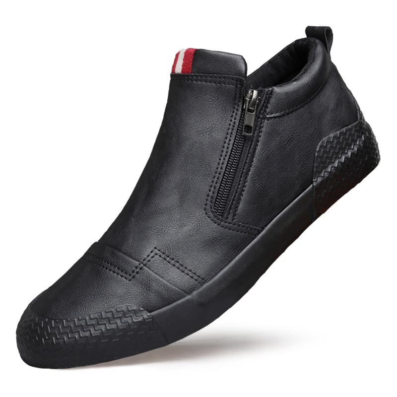 Autumn Winter Tide Shoes Men's High  Korean Version Of The Trend Shoes Plus Velvet Cotton Shoes Men's Martin Boots