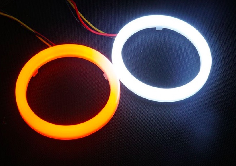 2PCS Dual ColorAuto Headlight Halo Rings Light Guide Angel Eye Car Fog Cotton light Angel Eyes