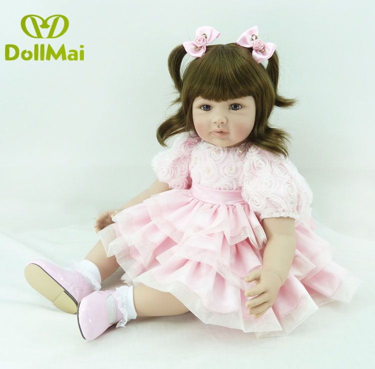 Silicone Reborn Baby Doll Toys 60cm vinly Princess Toddler girl real baby dolls bebe doll reborn children gift toy dollsSilicone Reborn Baby Doll Toys 60cm vinly Princess Toddler girl real baby dolls bebe doll reborn children gift toy dolls