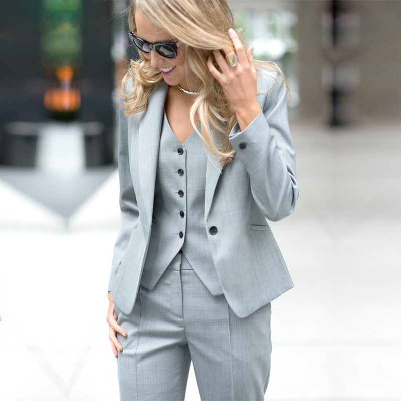 Women Pant Suits Ladies Custom Made Office Business Suits JACKET+PANTS+VEST New Hot Tuxedos