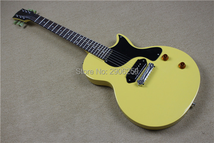 Factory Direct Lp Junior electric guitar yellow color one piece bridge one wax P90 pickups 22 dot inlay frets LP guitar