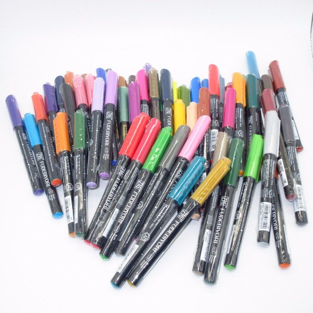 Ofis ve Okul Malzemeleri'ten Boya Fırçaları'de ZIG Kuretake 57 Renk Suluboya Yumuşak Fırça Yazı Kalemler FUDEBIYORI Fırça... İşaretleyiciler Çanta Japonya'da  Grup 1