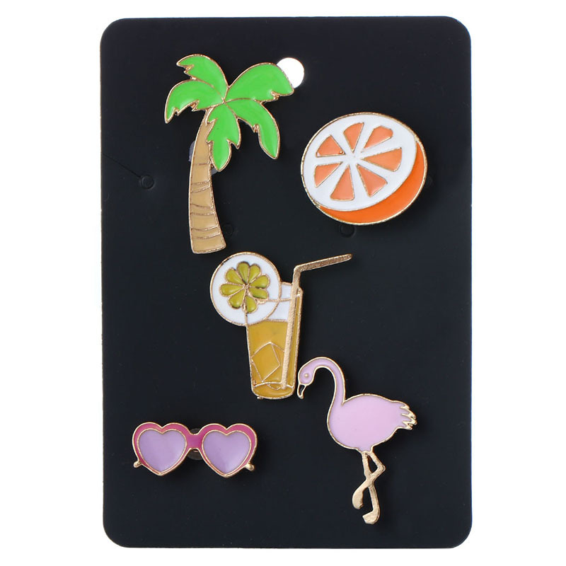 Fashion summer series cute cartoon Tree orange Enameled Pins and Brooches 5pcs as one card for Women or Girls