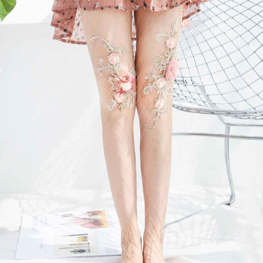 Women Sexy Tights Flowers Embroidery Pantyhose Stockings Summer Ladies Big Net Anti-hook Floral Mesh Tights