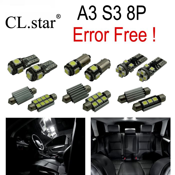 12pc X canbus LED Interior dome map Light Kit Package for Audi A3 S3 8P (2006-2013) 16pc x canbus error free led bulb interior light kit package for audi a3 s3 8p 2006 2013