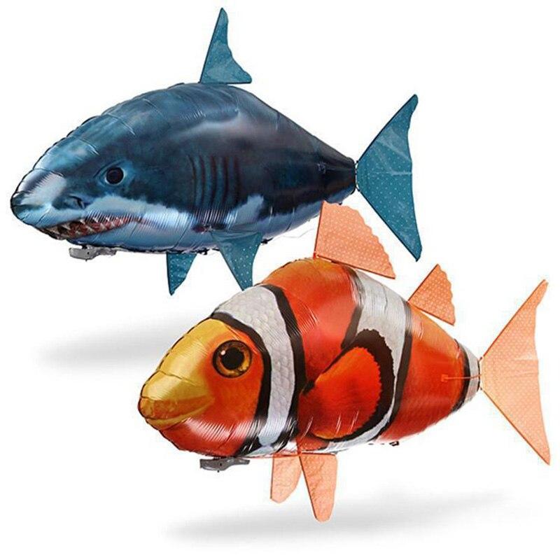 Control remoto de vuelo de tiburón, felpa juguete tiburón payaso Nemo peces globos de helio inflable RC avión Drone con luz mejor navidad regalo