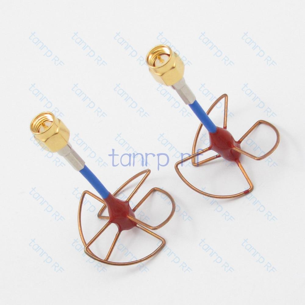 New 5.8GHz  5.8G FPV Antenna 3 4 Leaf Blade RX TX SMA male plug Circular Polarized Gain with RG405 RG086 Blue cable tanger fpv gain 5 8ghz antenna a pair 3 5 leaf blade tx rx circular polarized antenna with sma male rg405 rg086 blue coax cable