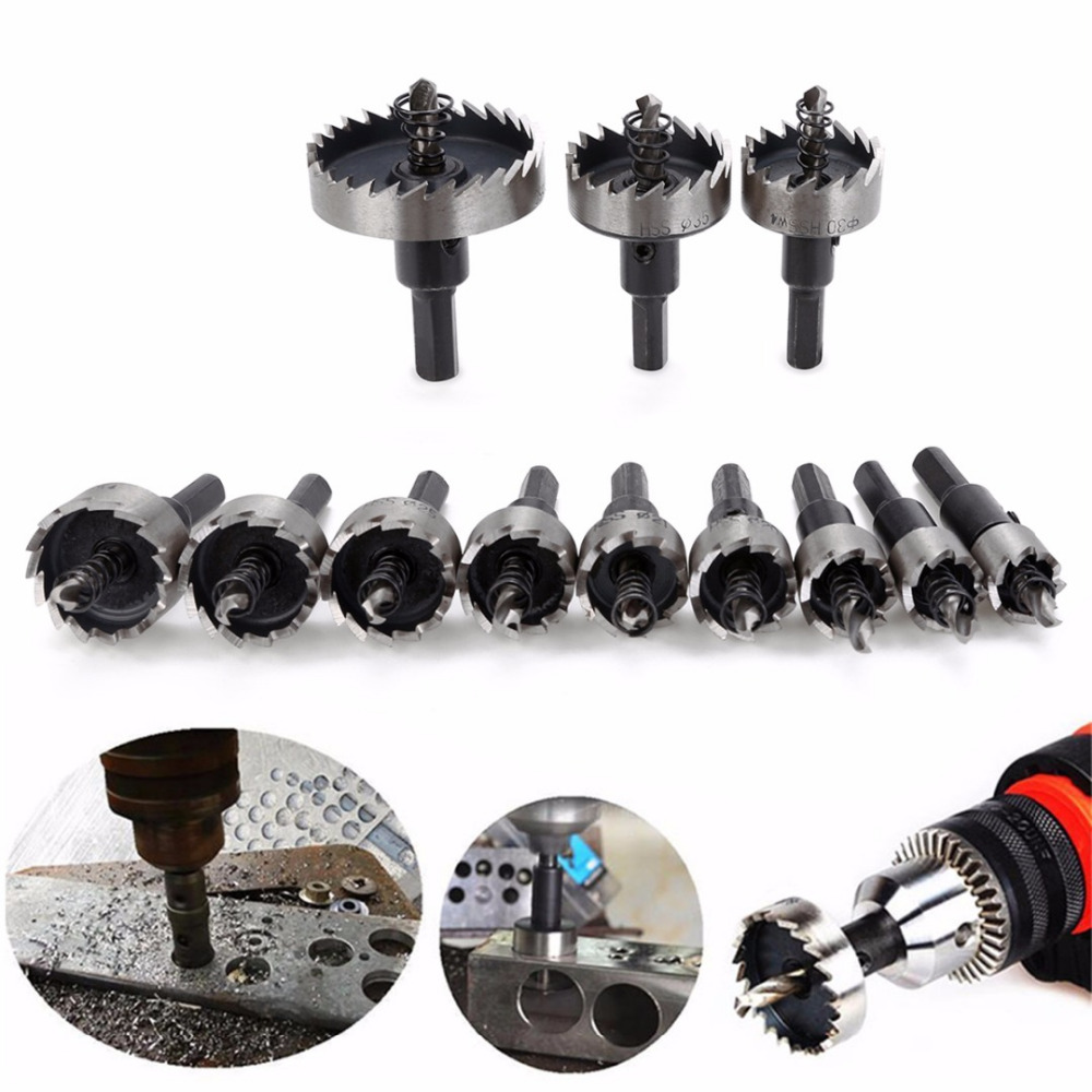 цена на 12Pcs Practical Stainless Steel HSS Drill Bit Saw Mayitr Durable Hole Saw Tooth Set Cutter 15-50mm for Copper Aluminum Cutting