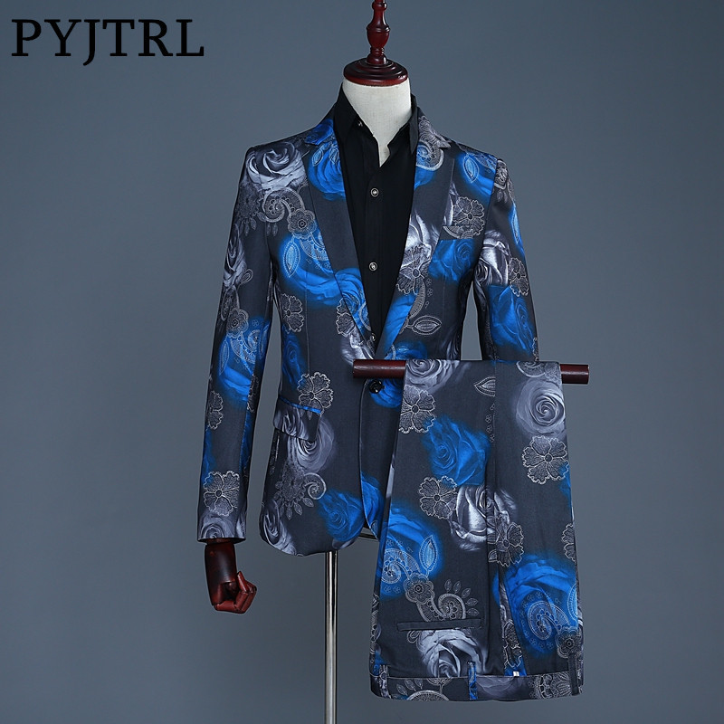 PYJTRL 2018 New Tide Men Fashion Blue Red Rose Floral Print Casual Wedding Modern Suits Prom Tuxedo Pantalon Homme Dj Party Wear
