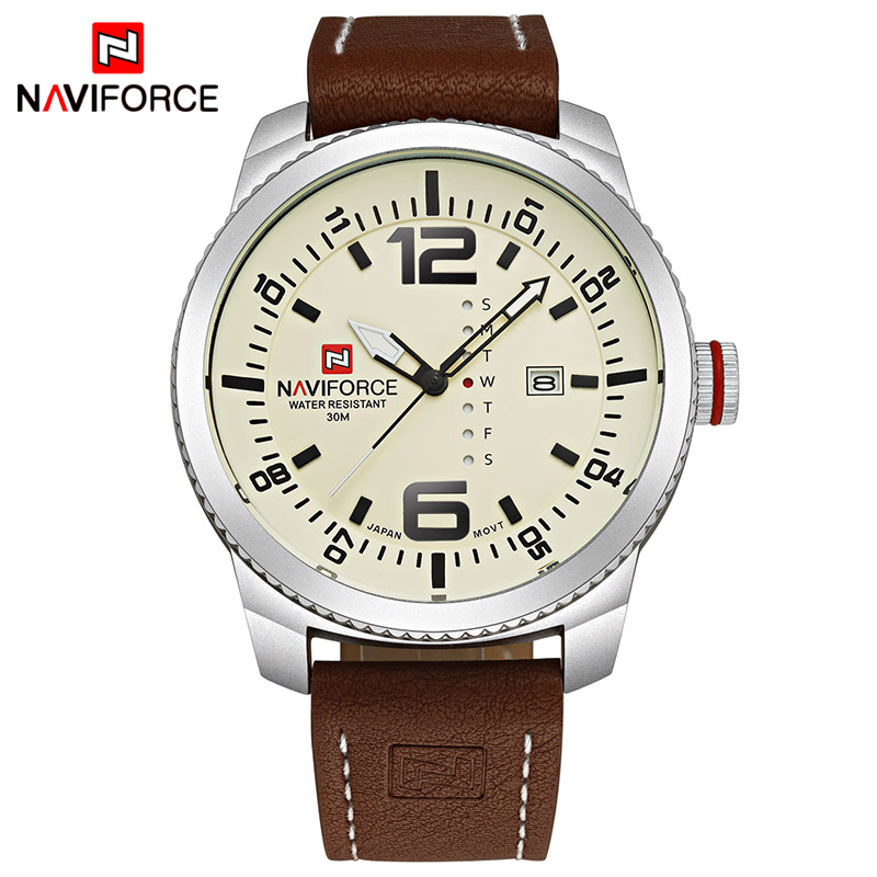 все цены на 2017 Top Luxury Brand NAVIFORCE Men Military Sports Watches Men's Quartz Date Clock Man Leather Wrist Watch Relogio Masculino