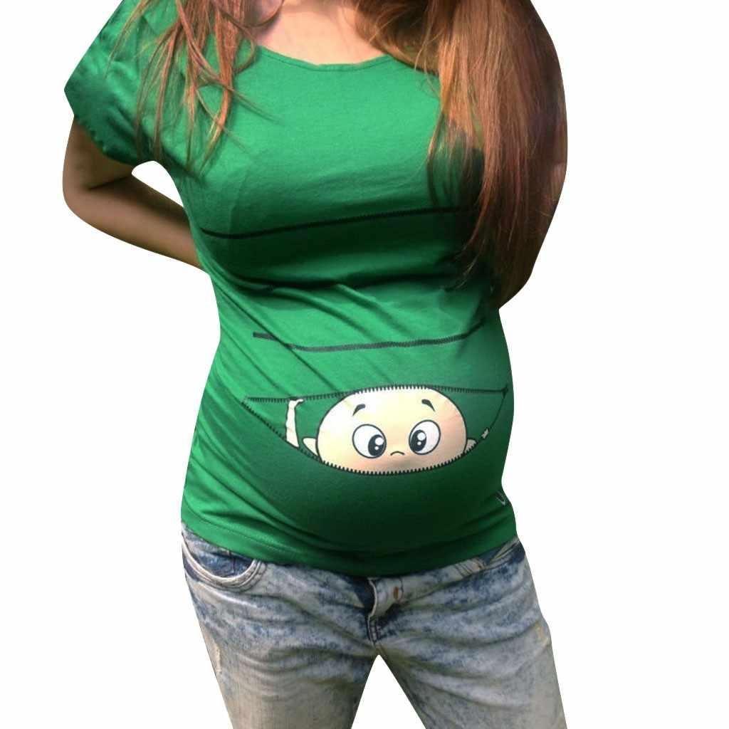 2019 блузка для беременных Топ с короткими рукавами и рисунком для беременных, футболки для беременных, забавная Милая графическая беременность 5,23