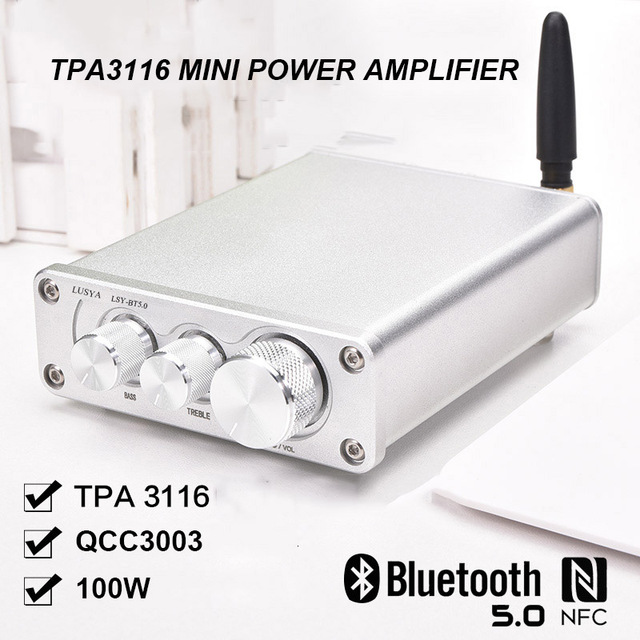 50W*2 Bluetooth 5.0 TPA3116D2 HiFi Power Amplifier Finished Board In Case  Home Audio TPA3116 Amp With Treble Bass T0712