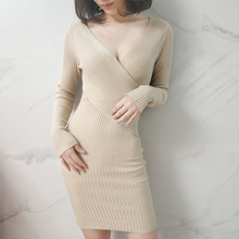 Shintimes 2018 Autumn Winter Women Long Sleeve Knitted Sweater Mini Dress Female Sexy V-neck Bodycon Party Vestidos