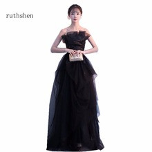 ruthshen Real Photo Black Sexy Long Prom Evening Dresses In Stock Tulle  Fairy Robe De Soiree aaf0c10ed95a
