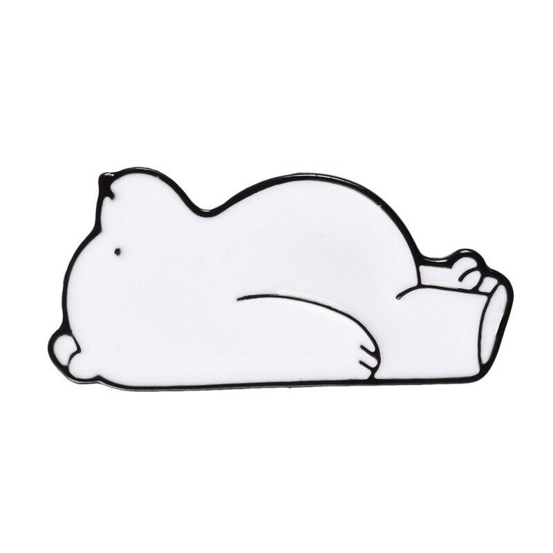 Булавка в виде животных из мультфильма голые медведи Милая гризли панда ледяной медведь джинсовые эмалированные булавки Kawaii нагрудные броши значки модные подарки - Окраска металла: Polar bear