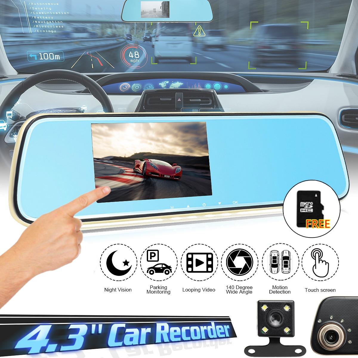 4.3 pouce HD 1080 P Voiture DVR Double Lentille Caméra Rétroviseur Vidéo Tactile Dash Cam Enregistreur G-capteur