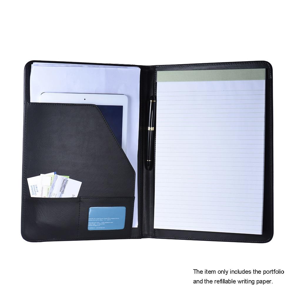 multifunctional business portfolio padfolio folder document case organizer a4 pu leather with. Black Bedroom Furniture Sets. Home Design Ideas