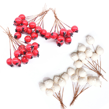50pcs 1cm Mini Artificial Flowers Stamens Pearl Foam Red Berry Cherry Fruit for Wedding Christmas Wreath DIY Gift Box Decoration