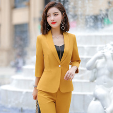 Professional womens suits 2019 autumn new five-point sleeves solid color Slim suit temperament casual trousers