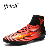 Hohe Ankle Fußballschuhe Männer Kinder Fußballrasen Schuhe Kinder Indoor Fußballschuh Ausbildung Tops Fußball Turnschuhe Rot Trainer