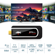 H96 Pro Android TV Stick OS 7.1 Amlogic S912 Octa Core 64Bit BT4.1 2.4g 5G Wifi TV Dongle 2G RAM 16G 1080 p 4 K HD Mini PC