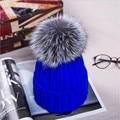 15com hotsale niños hicieron punto el sombrero con el real fox fur pom pom gorros Gorras Otoño Invierno Gruesos Calientes Sombreros Del Snapback de la Gorrita Tejida Sombrero H #16