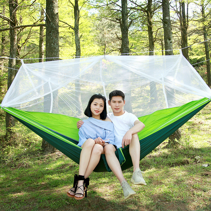 High Portable Strength Fabric Mosquito Net Outdoor Camping Hammock Lightweight Hanging Bed Durable Packable Travel Bed