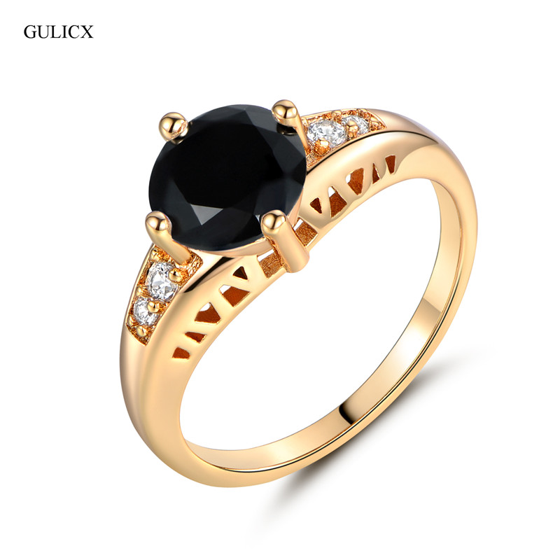 GULICX 2017 Fashion Finger Ring for Women Gold-color Round Black Yellow Crystal Zircon CZ Engagement Ring Women Jewelry R122