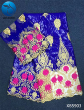 LIULANZHI Royal blue bazin lace fabric with stones Fashion embroidery riche broderie and nigerian net for dress XB59
