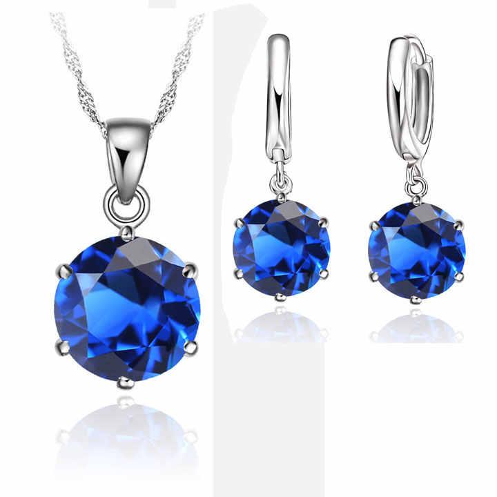 Klassische Braut Hochzeit Schmuck Set Für Frauen 925 Sterling Silber Kristall Halskette Ohrringe Sets Für Engagement 7 Farben