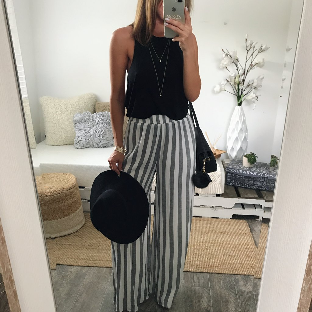 High Waist Trousers For Women Ladies Solid Palazzo Long Loose Casual Striped   Pants     Wide     Leg     Pants