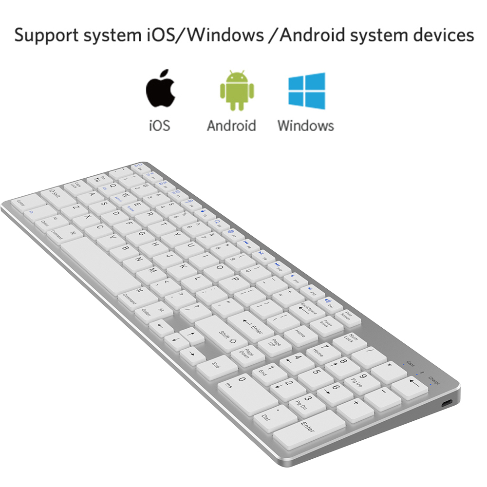 Image 2 - Zienstar Ultra Thin Standard Bluetooth Keyboard for IPAD,MACBOOK,LAPTOP, Computer PC and Tablet,Rechargeable Lithium Battery-in Keyboards from Computer & Office