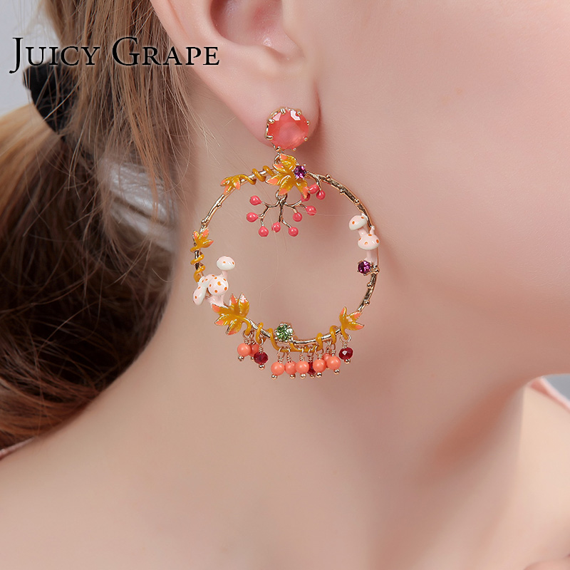 Paris New Luxury Mushroom Enamel Handmade Earrings Flower Round Earings Fashion Jewelry Prevent Allergy Woman Fine Jewelry