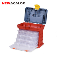 NEWACALOX Portable Multifunctional Hardware Storage Box with 4 layer Parts Plastic Box Outdoor For Repair Accessories Toolcase