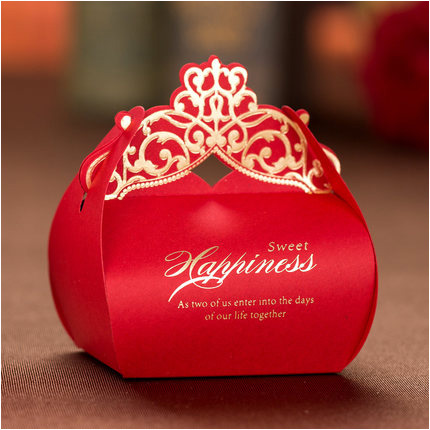Luxury Wedding Favor Boxes 2016 Laser Cut Gold Red Candy Sweet Gift Box Event