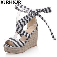Summer Strip Sandals Straw Platform High Heels Women Shoes Ladies Outside Shoes Wedge Sandals Cross Straps Large Size 33-43