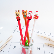 4pcs/lot 0.5mm cute Christmas Gel Pen Promotional Gift Stationery School & Office Supply Kawai Neutral pen Stationery 4pcs lot 0 5mm cheese cat head pendant gel pen promotional gift stationery school