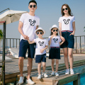 Casual Family Matching Outfits Mother Daughter Dresses Father Son T-shirt Clothes Family Clothing Women Summer Cotton Dress GB7