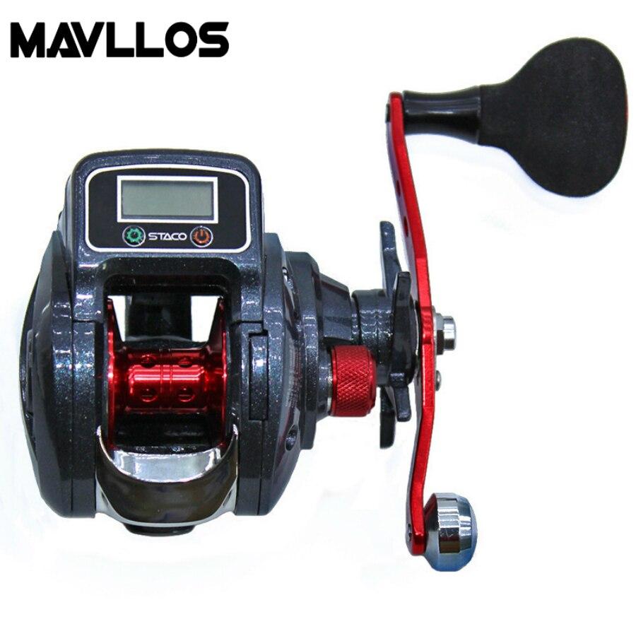 Mavllos Digital LED Display Bait Casting Fishing Reel Left Right Hand EVA Round Knob Metal Handle Knob Lure Bait Casting Reel