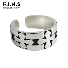 F.I.N.S S925 Sterling Silver Ring Retro Carved Cross Opening Adjustable Female Ring Silver 925 Wide Vintage Rings for Women цена