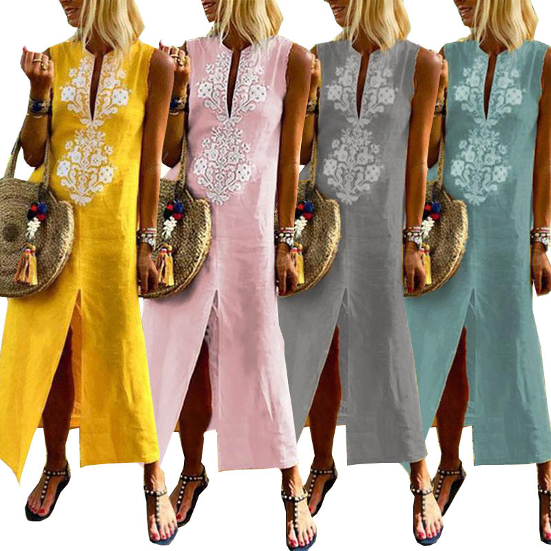 Try Everything Long Bohemian <font><b>Dresses</b></font> Maxi Cotton <font><b>Linen</b></font> <font><b>Dress</b></font> Women 2018 Yellow Sleeveless Long <font><b>Dress</b></font> Summer Ladies <font><b>Dresses</b></font>