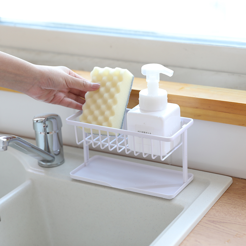 Kitchen Supplies Double Sponge Storage Drain Rack Plastic Kitchen Sink Countertop Cleaning Cloth Rack ZP3041016