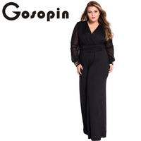 Gosopin Hot Selling Woman Wide Leg Elegant Jumpsuits Black Embellished Cuffs Long Mesh Sleeves Jumpsuit LC6650