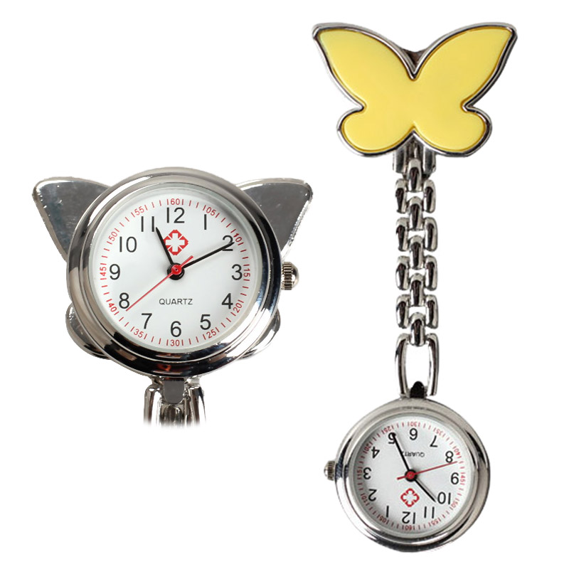 Pocket Medical Nurse Fob Watch Women Dress Watches 4 Color Clip-on Pendant Hanging Quartz Clock Butterfly Shape Relogio De  LL