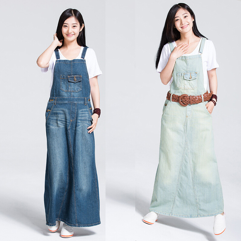 Women Spaghetti Strap Denim Maxi Dress Long Bib Jeans Bohemian Plus Size 2017 New Fashion Summer In Dresses From S Clothing Accessories
