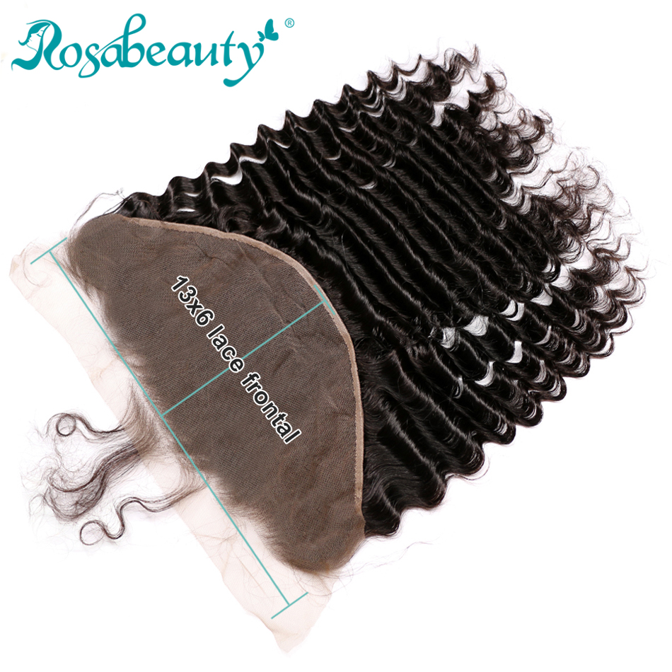 Rosabeauty Loose Deep Ear to Ear Lace Frontal Closure 13x6 With Baby Hair Pre plucked Brazilian Virgin Human Hair Frontal-in Closures from Hair Extensions & Wigs    1